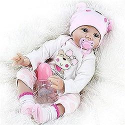 CUTDOLL Reborn Bébé Poupée Réaliste en Siliconé Vinyle Fille 55 cm Yeux Ouvert Tenue Rose Nouveau-Né Reborn Baby Doll Toddler Babies Magnétique Bouche