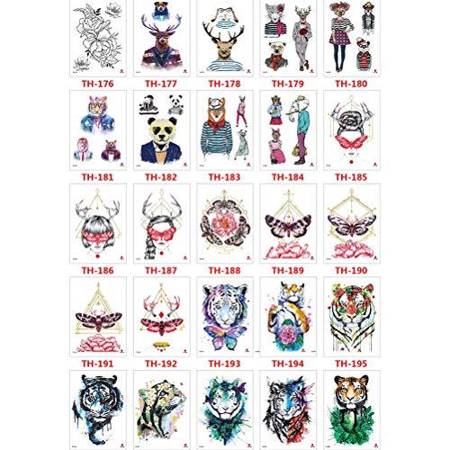 50 Blatt Temporäre Tattoos Aufkleber Wasserdicht Body Art Tattoo Sexy Blumen Schmetterlinge für Frauen Teens Mädchen Kinder 50 Arten - Langsam Moderne Kostüm