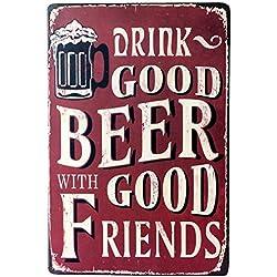 kentop Retro Cartel de chapa cerveza Póster Bar Publicidad Pared Cartel para puerta cartel metálico para bar restaurante casa pared decoración