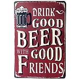 Topdo 1pcs Poster Métallique Affiche Peinture Art Décoratif Vintage pour Bar Café Pub Vintage Poster Mural rétro Plaque en métal Bar Pub 20 * 30cm Beer Good (Beer 1)