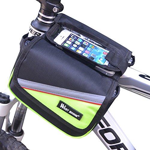 West Biking Radfahren Fahrrad Lenker Taschen Fahrrad vorne oben Regal Tasche 10,7cm 12,2cm 14cm Berühren Bildschirm grün