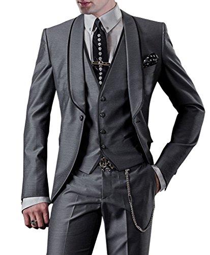 Suit Me Homme 3-Piece Suit 1 bouton veste de Suit de smoking Parti de mariage, gilet, pantalon MT57 Gris