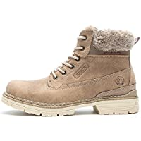 Womens Winter Flat Ankle Boots - AnjouFemme Ladies Walking Hiking Boots, Womens Lace Up Shoes, Womens Snow Boots, Comfortable Boots, Best Choice for Daily Wear