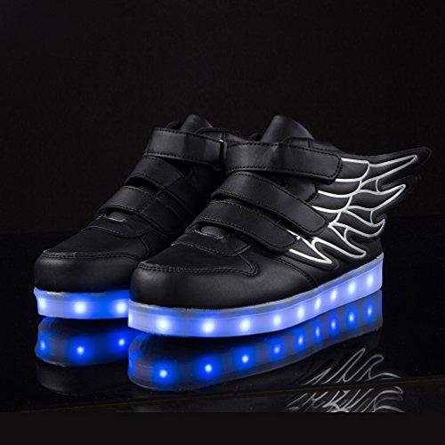 AFFINEST Kinder Jungen Mädchen LED Light Up leuchtet Schuhe Sneakers for kids mit USB einem Geschenk der Weihnachten Neujahr Schwarz