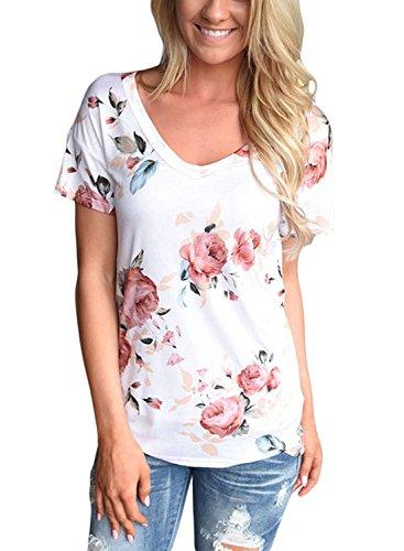 Minetom Donne Estate Loose Camicetta Casual Floreale V-Collo Magliette Maniche Corta Stampato Elegante Blusa Camicia Tops T-Shirt Bianco