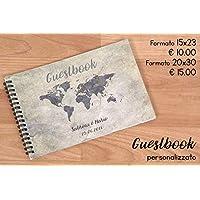 Guestbook matrimonio - libro dediche e auguri invitati personalizzato vintage mappamondo cartina tema viaggio disponibile in tutti i colori
