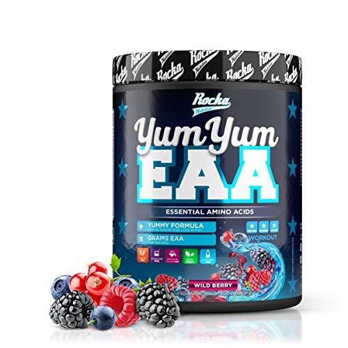 Rocka Nutrition EAA Pulver YUM YUM EAA | Hochwertige EAAs Aminosäuren Komplex Hochdosiert - Amino 450 g (Wild Berry)