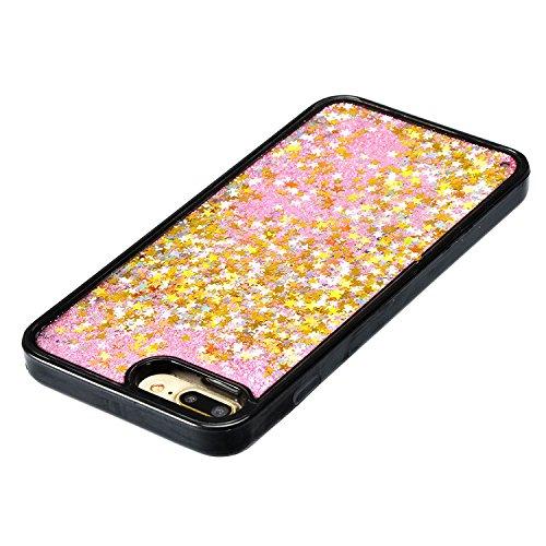 Coque Sparkle Paillette Case pour iPhone 7 Plus (5.5 pouces),Sunroyal Glitter Liquide Sables Mouvant 3D Flowing Briller Sparkles Diamant Etui Housse Soft TPU Silicone Dual Layer Transparent Skin flux  Or