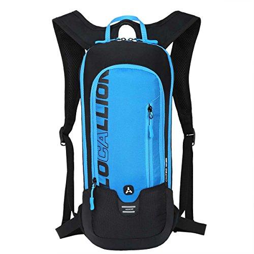 LOCAL LION Fahrradrucksack Skirucksack klein für Damen & Herren 6L Ultraleicht wasserdicht mit Trinksystem für Trinkblase bis 2L - Ideale zum Skifahren | Radsport | Camping blau