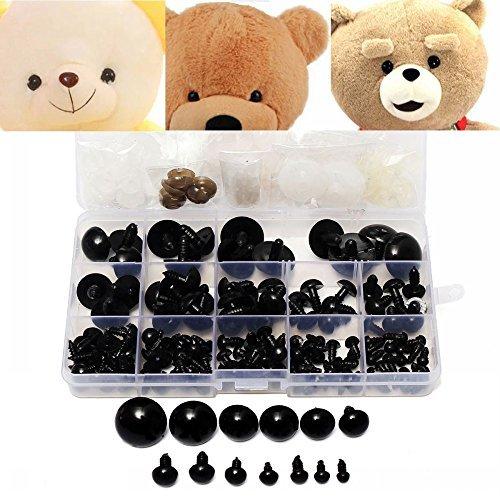 Kungfu Mall 154pcs 6 to 24mm Schwarz Kunststoff Sicherheit Augen Unterlegscheiben Teddy Bear Puppe Spielzeug Tier DIY Fall Kinder Spielzeug