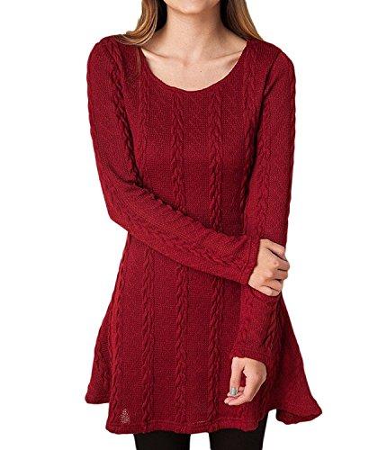 Vestido Alinear De Punto Mujer Elegantes Vintage Otoño Invierno Jersey de Vestir Moda Ropa de Punto Camisetas Manga Larga Cuello Redondo Blusa Tops Casual Sudadera Unicolor Slim Fit Mini Vestidos