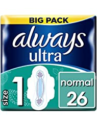 Always Ultra Normal Sanitary Towels with Wings 26 Pads Super Absorbent, Neutralises Odours, Ultra Thin, Size 1