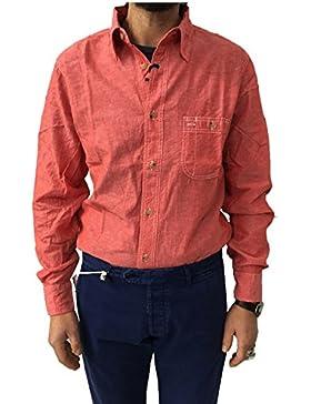 MANIFATTURA CECCARELLI camicia uomo chambray rossa mod 703 QA 45% cotone 55% lino MADE IN ITALY