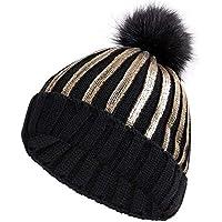 BLACK ELL Sombrero de señora, Gorro de algodón de Punto para Hombre, Gorras Unisex, Brillantes y Brillantes, Sombreros Unisex cálidos y cómodos, 1