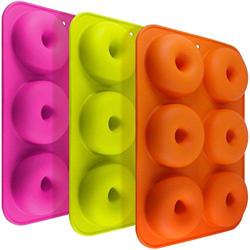 3 Pack Silikon Donut Formen, FineGood 6 Hohlraum Antihaft-Safe Backblech Maker Pan Hitzebeständigkeit für Kuchen Keks Bagels Muffins-Orange, Rose Red, Grün