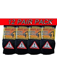 12 PAIRS - MENS HEAVY DUTY ASSORTED COLOURS Thick Work Boot Socks - Size UK 6-11 (EUR 39-45)