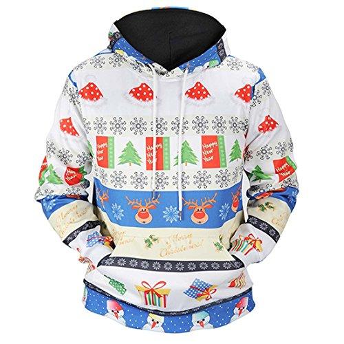 Der Hoodie des Weihnachtsliebhabers,FRIENDGG Social code Frauen Herbst Winter Weihnachten Gedruckt Langarm Mode Kapuzenpulli Beiläufige Lose Pullover Hoody Outwear Mantel Jacke Parka Mantel (Blau, XXXL)