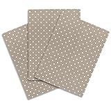 ziczac-affaires KRACHT, 3er-Set Geschirrtuch Halbleinen Bedruckt, Punkte, beige, Edition, ca.50x70cm