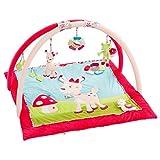 Fehn 076738 3-D-Activity-Decke Reh – Spielbogen mit 5 abnehmbaren Spielzeugen für Spiel & Spaß für Mädchen von Geburt an – Maße: 85x85cm