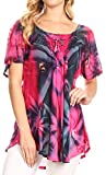 Sakkas 14785 - Juniper-Kurzarm-Schnürschlüssel-Färbe-Bluse mit Pailletten und Stickerei - Pink/Navy - OS
