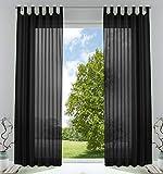 2er-Pack Gardinen Transparent Vorhang Set Wohnzimmer Voile Schlaufenschal mit Bleibandabschluß HxB 225x140 cmSchwarz, 61000CN