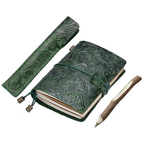 gossipboy Carving Design Leder Traveler Notizbuch und Stift Fall Set nachfüllbar wiederverwendbar Zeitschriften Tagebuch Notizblock Bezug mit 3 Papier fügt grün 135x105mm/5.31