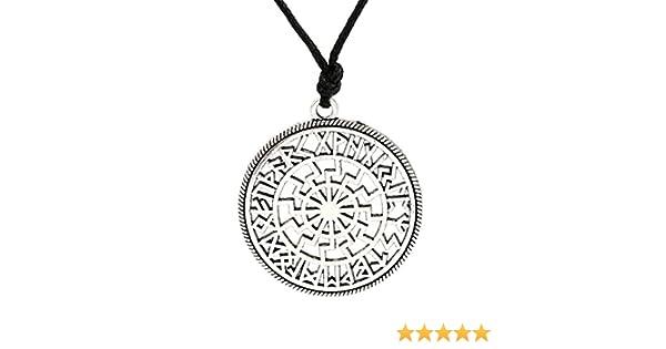 collier avec pendentif soleil noir viking MyShap collier orn/é d/'un talisman aux runes nordiques