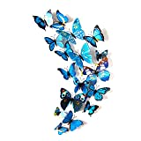L-FENG-UK 3D Butterfly Removable Mural Wall Stickers Wall Decal for Home Decor (Blue)