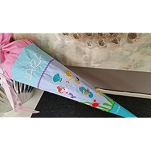 Meerjungfrauen türkis-rosa-lila Schultüte Stoff + Papprohling + als Kissen verwendbar