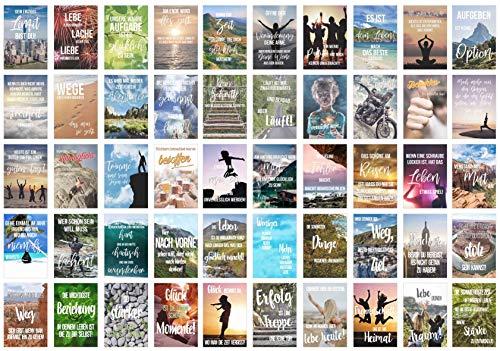 Set 50 Postkarten Leben Momente Mit Spruchen Karten Mit Spruch