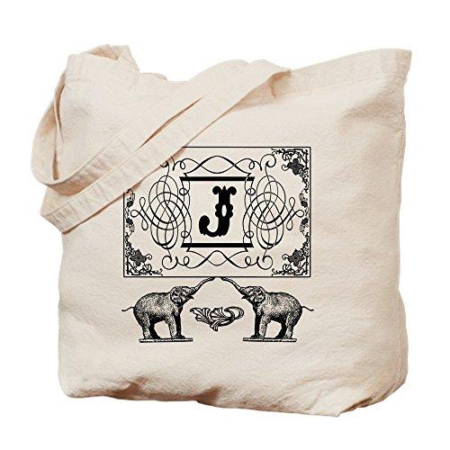 CafePress-Buchstabe J Elefanten verziert Zirkus Monogram Totebag-natürliche Canvas Tote Bag, Tuch, mit Tasche, canvas, khaki, S -