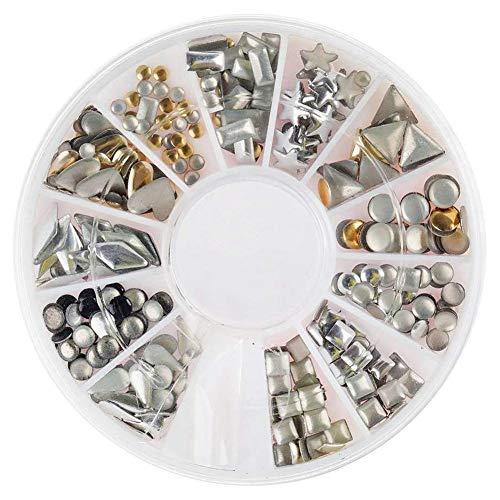 TOOGOO Roue de decorations d'art des ongles de manucure 3D de haute qualite professionnelle Avec des goujons en metal dore et argente En 12 formes differentes