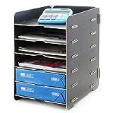 Menu Life Desk Wooden File Cabinet Storage Boxes A4 Size Paper Organiser File Document Magazine Folder Holder (Black)