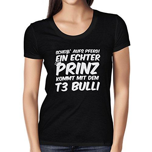 inz Kommt mit dem T3 Bulli - Damen T-Shirt, Größe M, Schwarz (Nerd Kostüm Ideen Für Frauen)