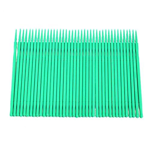 Fenteer 100x Jetables Micro Applicateur Pinceaux Brosse Maquillage Microbrush pour Retrait Extensions de Cils Nail Art et Peinture - vert