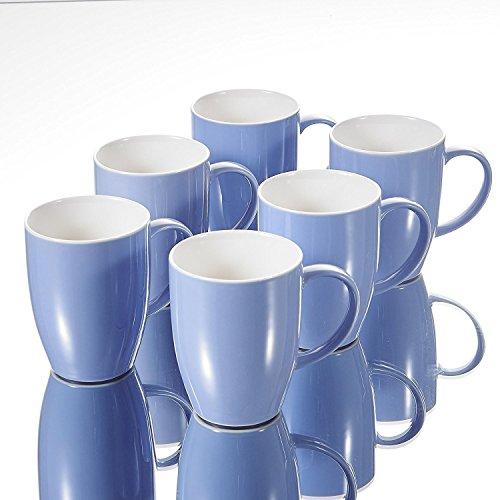 Panbado Porzellan Kaffeepott 370 ml, 6 teilig Kaffeetassen, Becher Set, Blau + Weiß