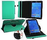 Emartbuy® Ninetec Platinum 7 G2 7 Zoll Tablet PC Universal ( 7 - 8 Zoll ) GepolsterteDesign Emerald Grün 360GradrotierendeStandFolioGeldbörseTascheHülle + Türkis Eingabestift