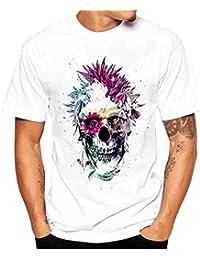 Zarupeng Camiseta de Cráneo Hombre Militares Camisetas Deporte Ropa Deportiva Camisa de Manga Corta de Algodón Slim Fit Casual Para Hombres Tops Blusa