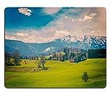 luxlady Naturkautschuk Gaming Mousepads Vintage Retro Hipster Style Travel Bild der Deutschen Idyllic Pastoral Landschaft im Frühjahr mit Alpen Hintergrund Bayern Germany Bild-ID 27847807
