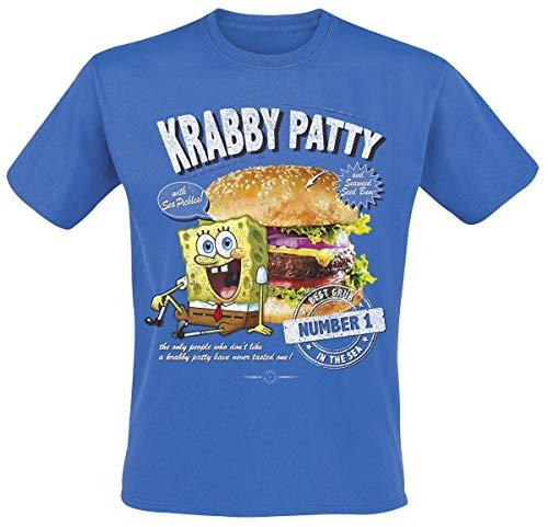 Spongebob Schwammkopf Krabbenburger T-Shirt blau XXL - Spongebob Schwammkopf T-shirt T-shirt