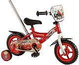 Disney Vélo pour Enfant avec Barre d'Apprentissage Amovible et orientable, Roues stabilisatrices, Images de Voiture 25cm Environ, Rouge