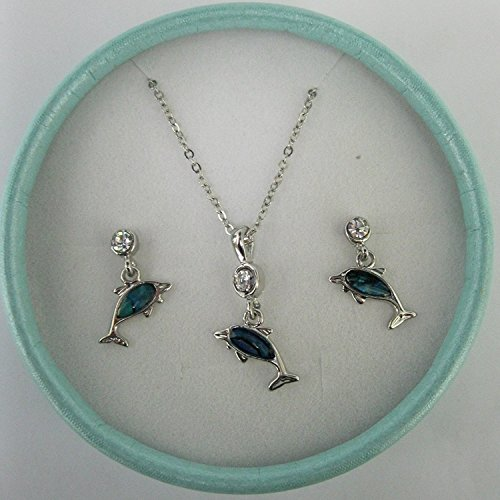 Inlaid paua shell dolphin pendant and earrings ~ supplied in a gift box