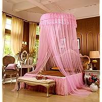 LifeWheel Romantische Prinzessin Runden Spitzen Betthimmel Moskitonetzen  Kuppel Bett Netting Baldachin Vorhang Moskitonetz (Rosa)