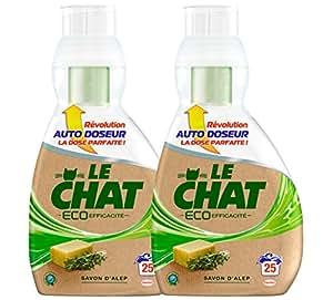 Le Chat Eco Efficacité Lessive Liquide Concentré avec Auto Doseur 850 ml / 25 Lavages - Lot de 2