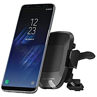 Wireless Car Charger, Auledio Qi Fast Charging 360° Degree Rotating Car Mount Air Vent Mount Phone Holder Dock with Universal Orienting for iPhone X 8 8 Plus Galaxy S8 Plus Note 8 S6 S7 Edge iPhone Samsung LG HTC and Other Qi-Enabled Phones