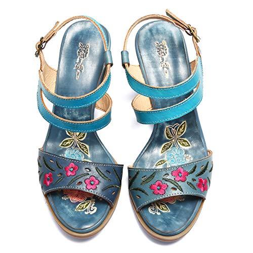 Leder-walking-mary Janes (gracosy Leder Mary Jane Pumps, Schuhe mit Absatz Bunte Sommer Sandalen Vintage Party Schuhe Handgemachte Stickerei Muster Slipper Slingback Sandalen)