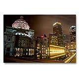 CALVENDO Premium Lienzo 90 cm x 60 cm Horizontal, Boston Imagen de Pared sobre Bastidor, Listo en Lienzo, impresión en Lienzo (calvento Lugar) Orte