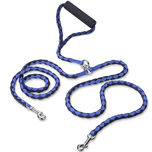 Hundeleine Doppelleine, PETBABA 1.4m Lang Keine Verwicklung Gepolsterter Griff Geflochten Nylon Training Hunde Leine für 2 Hunde Blau