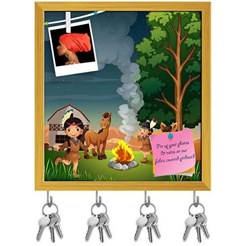 Indian Girls Key Holder Hooks | Notice Pin Board | Golden Frame 16 X 17.2Inch ()