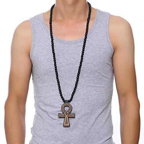 Herren Braun Holz Ankh Kreuz Anhänger Mit Einem 35 Zoll Holz Perlen Halskette Männliche Hip Hop Ägyptischen Schmuck Für Ihn Schlüssel Des Nils (ägyptischen Jungen Kostüm)